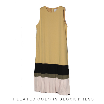 Color blocking pleated dress