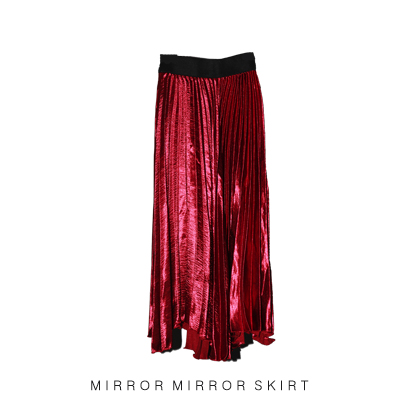 50s pleated satin skirt